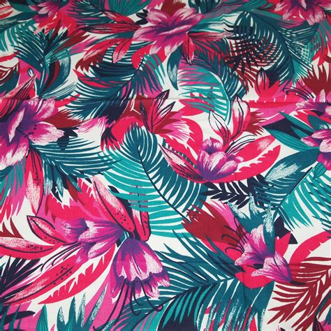 tropical fabric prints for upholstery vintage 80s novelty fabric featuring great tropical leaves