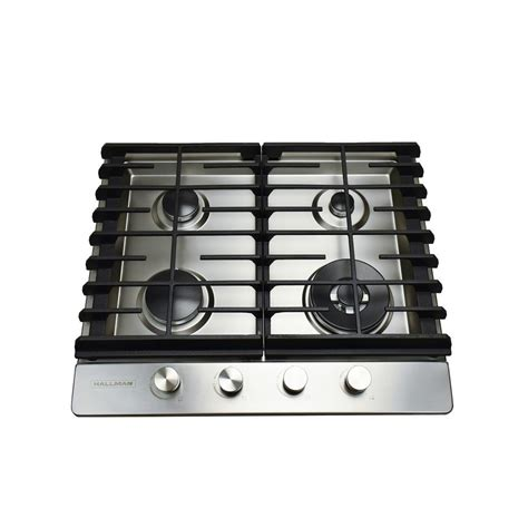 24 In Gas Cooktop - hallman 24 in gas cooktop in stainless steel with 4