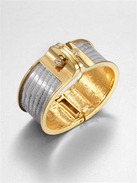 Lust Alert Gold And Cuff By Kara Ross by Kara By Kara Ross Wide Lizard Cuff Bracelet In Silver