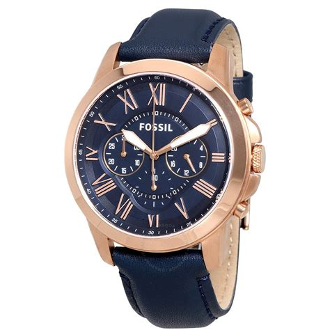 Fossil Wacth fossil grant multi function navy navy leather s fs4835 grant fossil watches