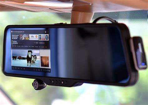 android mirror this android powered rear view mirror sports a 5 inch touchscreen dvr bluetooth headset