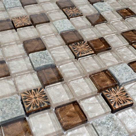 Marble Mosaic Floor Tile Glass Mosaic Tile Glass With Marble Backsplash Wall Stickers Floor Tiles