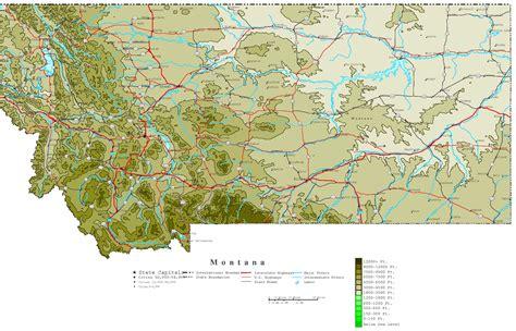 geographical map of montana montana contour map