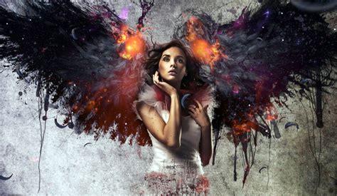 women wings  angel fire wallpapers hd desktop