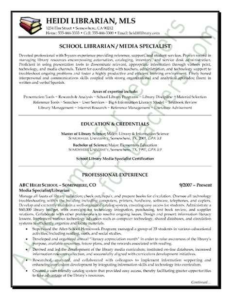 Elementary Media Specialist Sle Resume by Media Librarian Resume Sle Page 1
