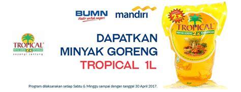 Minyak Goreng Lotte Mart gratis 1l tropical minyak goreng tiap transaksi di hypermart dengan kartu kredit mandiri promo