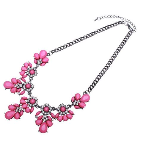 Rhinestone Drop Choker rhinestone flower drop statement necklace metal chain