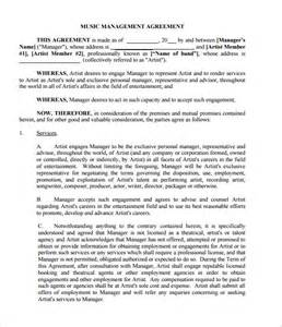 artist manager contract template doc 585650 artist management contract template 5