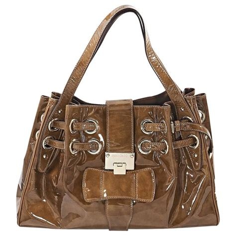 Jimmy Choo Ramona Metallic Leather Handbag by Brown Jimmy Choo Patent Leather Ramona Bag For Sale At 1stdibs