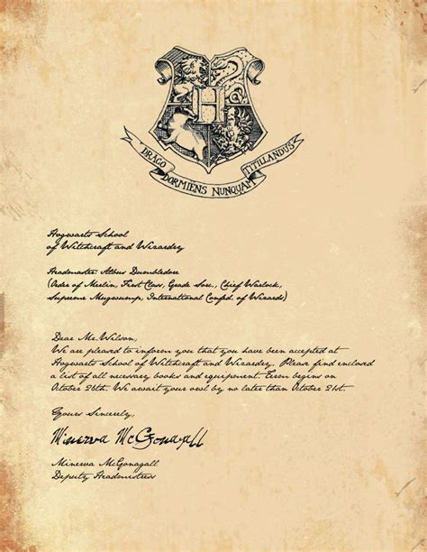 Send Harry Potter Acceptance Letter Hogwarts Acceptance Letter Harry Potter
