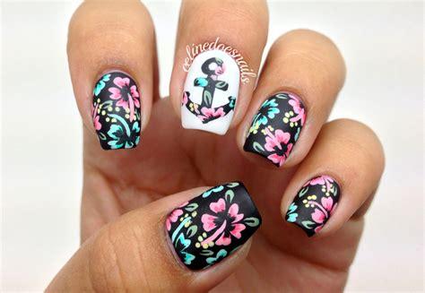 summer acrylic nail designs with anchor floral anchor nail art nail art by celine pe 241 a nailpolis