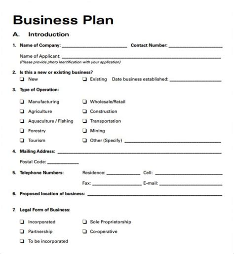 template for small business plan simple basic startup small business plan template pdf