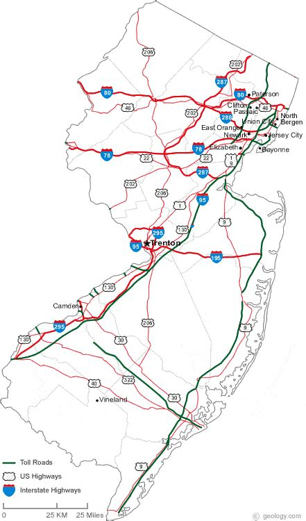 road map of new jersey map of new jersey