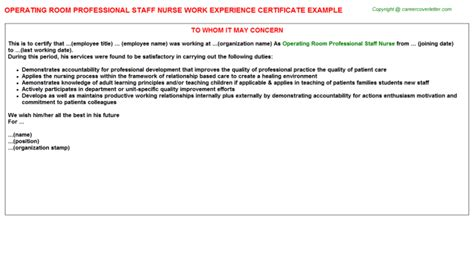 Work Experience Letter For Nursing Staff Work Experience Letters