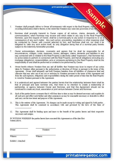 Free Printable Nominee Agreement Form Generic Miller Trust Template