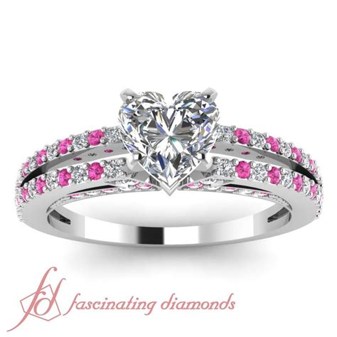 princess cut engagement rings with pink side stones