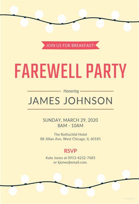 farewell card template word farewell invitation template 29 free psd format