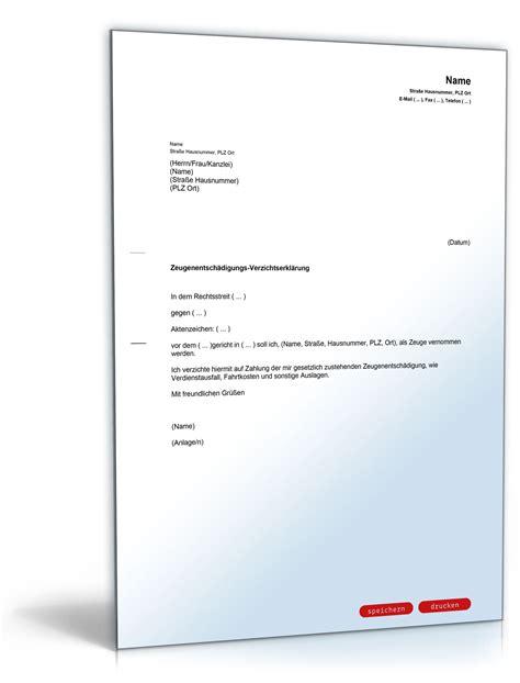 Härtefall Schreiben Muster Zeugenentsch 228 Digungs Verzichtserkl 228 Rung Musterbrief Zum