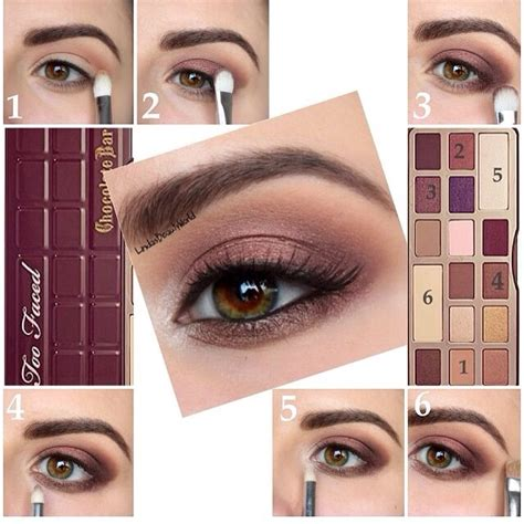 eyeshadow tutorial chocolate bar too faced chocolate bar palette make up how to pictorial