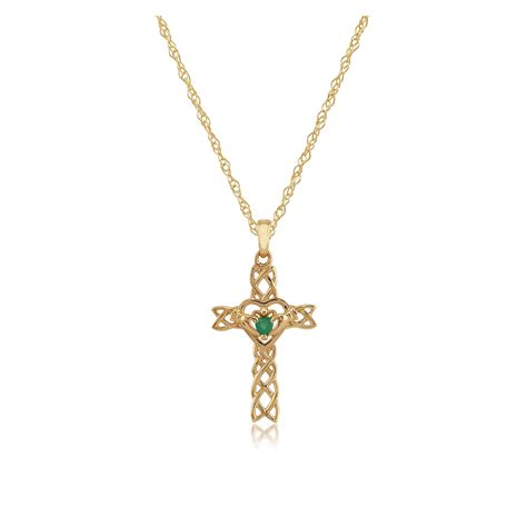 9ct yellow gold 0 10ct emerald set claddagh cross pendant