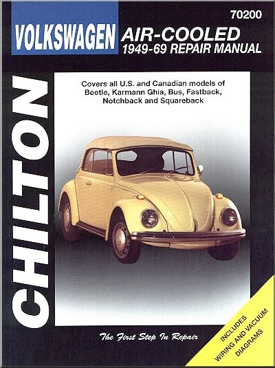 Vw Beetle Karmann Ghia Bus Repair Manual 1949 1969 Chilton