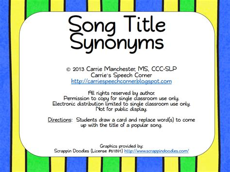 song titles carrie s speech corner song title synonyms freebie