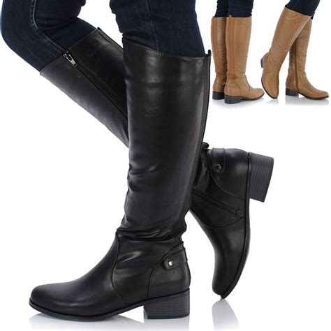 ladies biker style boots ladies leather style knee high low heel flat biker stretch