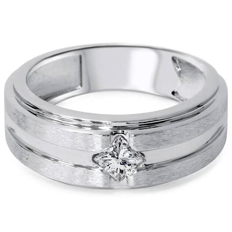 3 8ct mens princess cut solitaire brushed wedding diamond