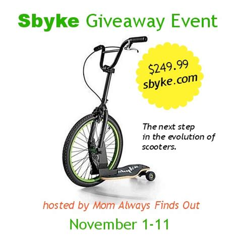 Giveaway Event - free blogger opp sbyke giveaway event familyfun award winner mom always finds out