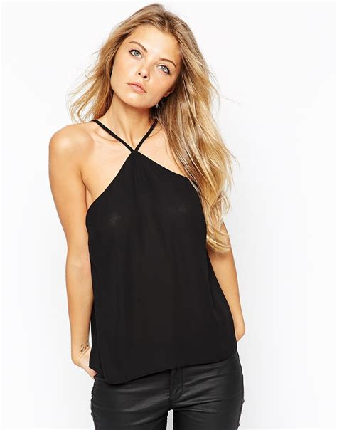 Halter Camisole Top lyst asos halterneck cami top in black