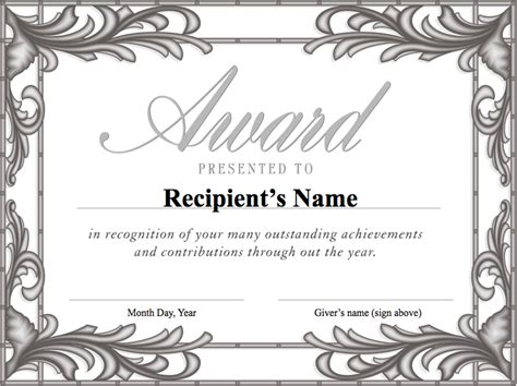 formal award certificate template free formal award templates for students helloalive