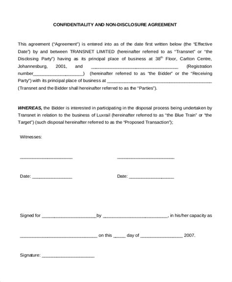 Non Disclosure Agreement Sle Form 10 Sle Exle Format Confidentiality And Nondisclosure Agreement Template