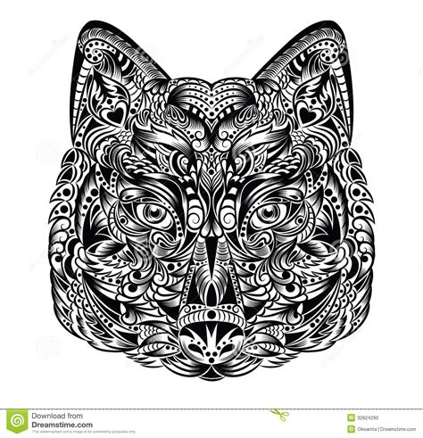 wolf pattern stock wolf stock vector image of decoration element anger