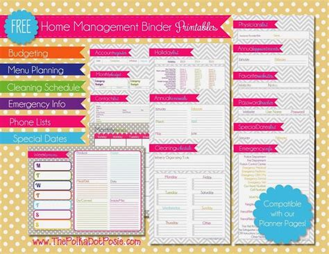free printable half page planner the polka dot posie free planner and home management