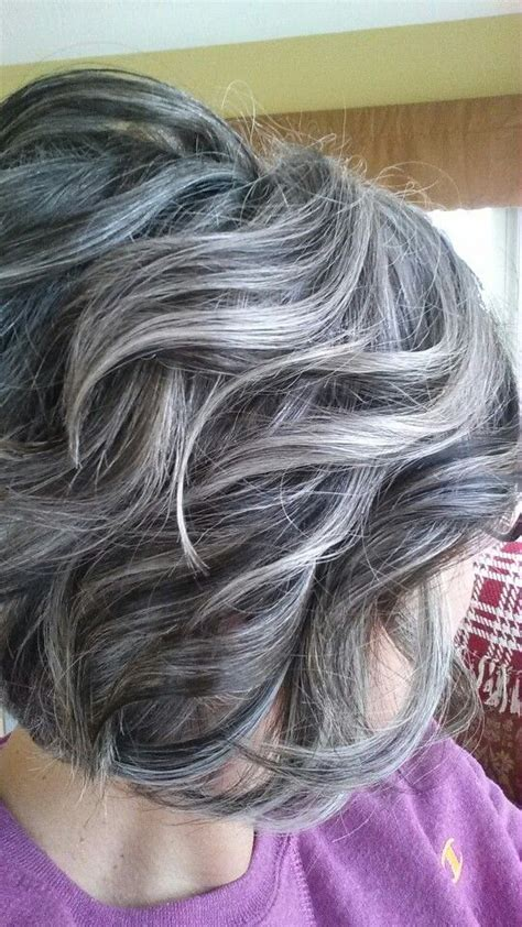 silver white hair with brown lowlights lowlights and highlights to soften the transition to grey