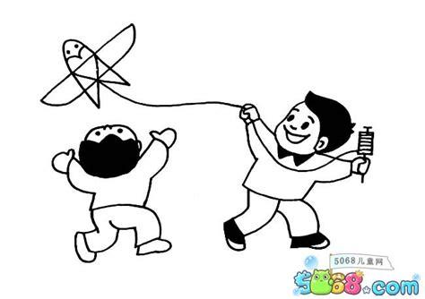 小朋友放风筝的简笔画_人物简笔画 - 5068儿童网 J 111