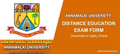 Annamalai Distance Education Mba Results 2017 by Annamalai Form May 2017