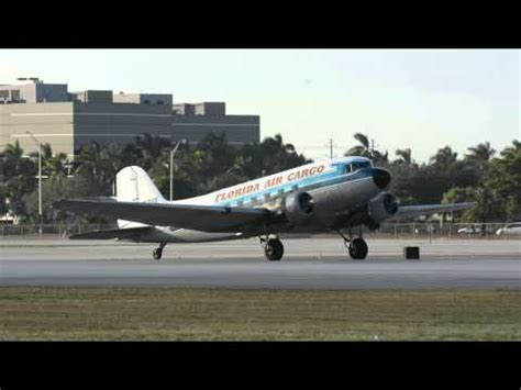 extremely dc 3 florida air cargo taking from runway 9 at miami international fl