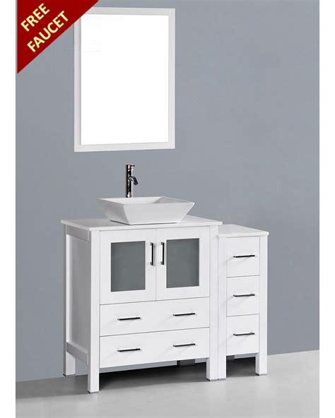 white square vessel white 42in square vessel single vanity by bosconi