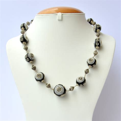 Handmade Metal - handmade black necklace studded with silver metal chain