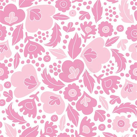 pattern pink soft soft pink floral silhouettes seamless pattern stock vector