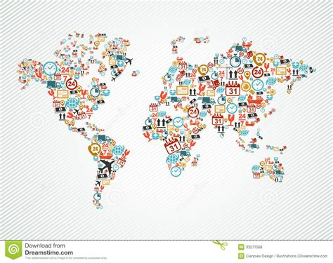world map illustration free delivery world map colorful shipping web icons ill stock