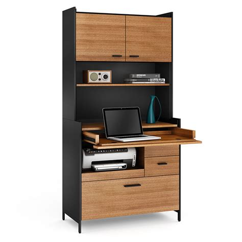 compact home office desk aspect black compact office by bdi collectic home