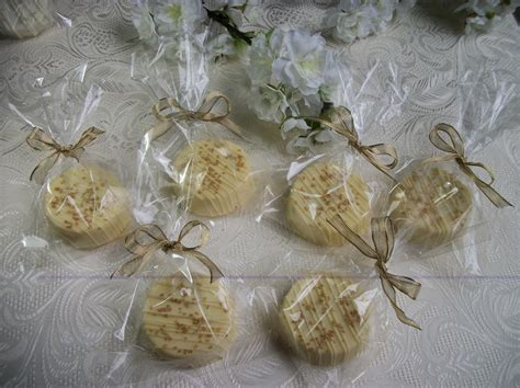 50th Wedding Anniversary Giveaways - wedding favor oreos decorated in a gold cored theme hand made bridal shower favors
