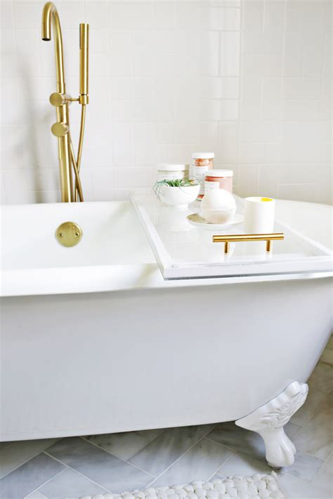 lucite bathtub caddy diy  beautiful mess