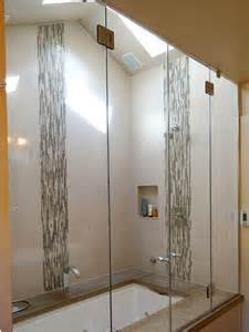 12x24 Tile In A Small Bathroom Vertical Accent Tile In A Glass Shower Gorgeous