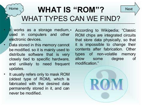 what is rom ram ram rom memories