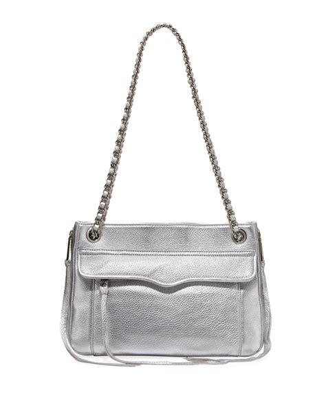 rebecca minkoff swing rebecca minkoff swing metallic shoulder bag silver in