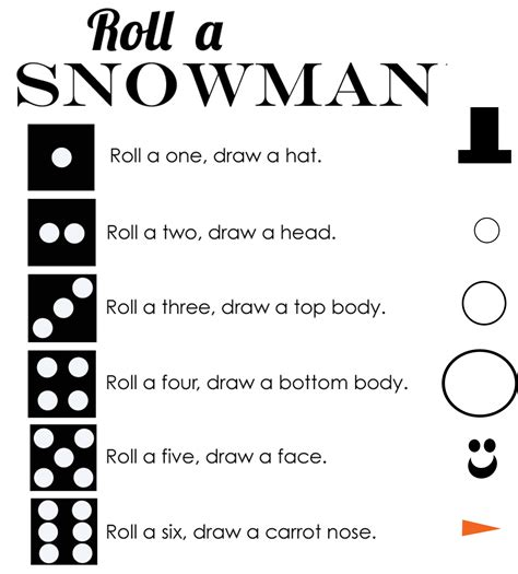 printable snowman dice game 5 best images of printable snowman game roll a snowman