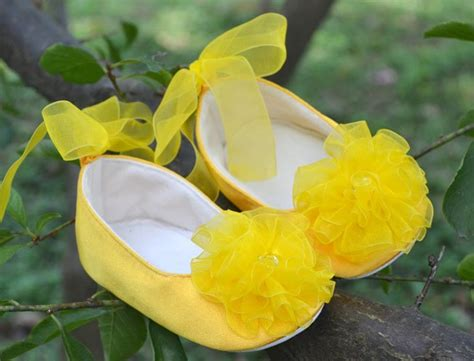 yellow flower shoes ivory pink brown yellow infant toddler baby flower